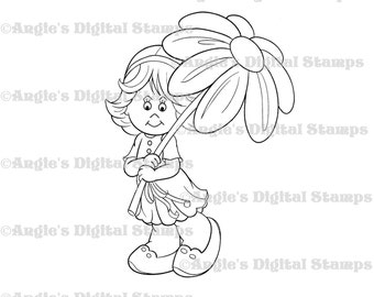 Daisy May With A Flower Umbrella Digital Stamp Image