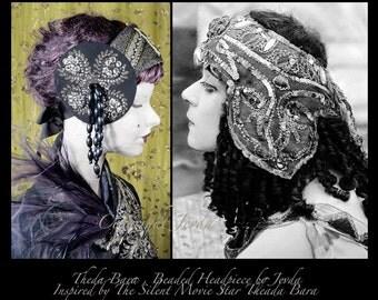 Flapper Headband, Bohemian Clothing, Gypsy Headband, Burlesque Headband, Belly Dance Headband, 1920s Headband, Fancy Headband