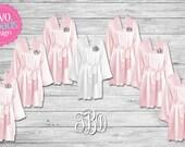 Blush Satin Robes, Bridesmaid Robes, Bridesmaid Gift, Monogrammed Robes, Bridal Robe, Bridesmaid Satin Robes, Personalized Satin Robes