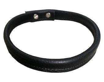 Black leather choker - Simple necklace - Leather choker - Minimalist fashion - Wrap choker for women -Goth choker - Punk choker - studs -