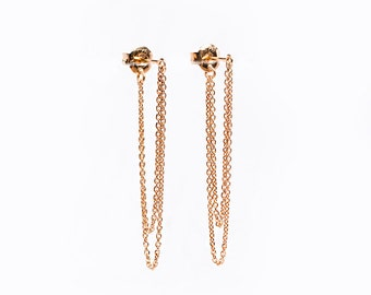 Double Chain Dangle Earrings, Sterling Silver, Gold Plated, Chain Studs, Dangling Post Earrings, Minimalist Edgy Jewelry, Gift, Lunai CHE001