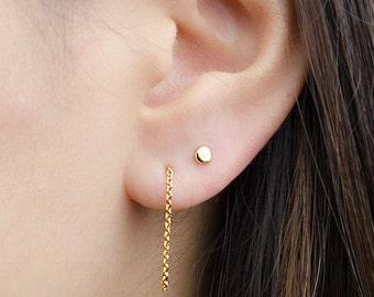 Long Chain Dangle Earrings, Sterling Silver Gold Plated, Chain Studs, Dangling Post Earrings, Minimalist, Gift for Girlfriend, Lunai, CHE004