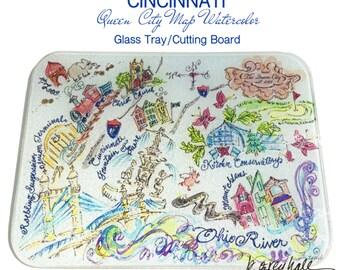 CINCINNATI Glass Tray/Cutting Board- Queen City Watercolor Map