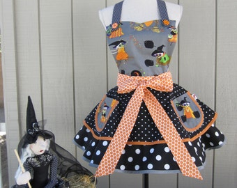 SALE!  HALLOWEEN WITCHES Apron In Womens Two Tiered  Retro Style With Polka Dots