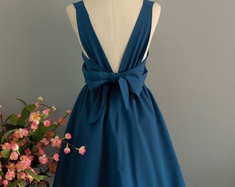 Party V Backless Dress Midnight Blue Dress Backless Dress Prom Party Dress Wedding Bridesmaid Dress Midnight Blue Party Dress XS-XL