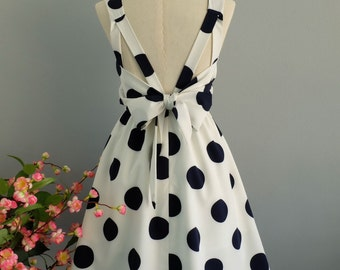 White dress navy polka dot dress white party dress white prom dress bow back dress white bridesmaid dresses polka dot bridesmaid dresses