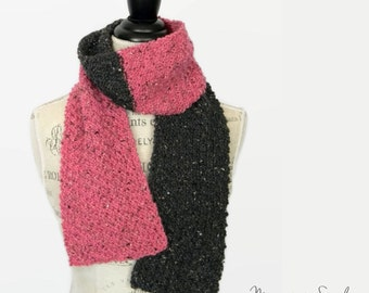 Pink and Dark Gray Scarf, Handmade Scarf, Women's Scarf, Handknit Scarf, Fall Scarf, Winter Scarf, Made in Montana, Ready to Ship