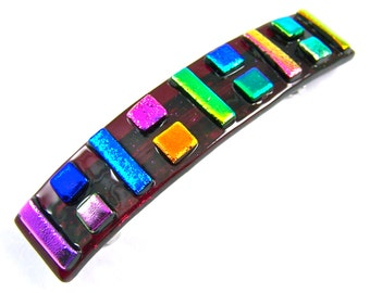"""Dichroic Barrette - Cranberry Red Rainbow Patchwork Color Block Squares Pink Blue Gold Green Accents Fused Glass - 3.5"""" 9cm"""