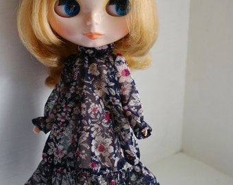 Long Dress, flower pattern one piece in navy for Blythe, Licca, 1/6 22cm doll