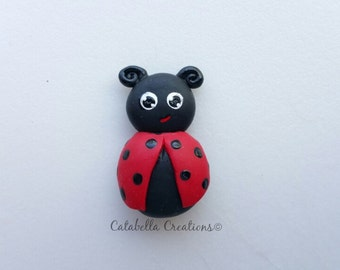 Clay flat back Lady Bug hair bow center or decoden