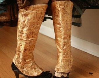 "Large (15.5"" / 39.4 cm), Gold Spats, with Victorian-Style Side Snaps, Ready to ship"