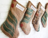 20% OFF SALE Burlap Stockings Personalized Green and Red - Rustic Christmas Stockings Burlap Coffee Sack