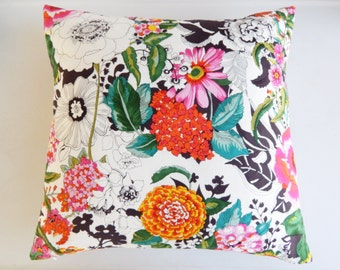CLEARANCE White Floral Pillow Cover - Magenta Mustard Orange Watercolor Flowers - Bohemian Girls Room