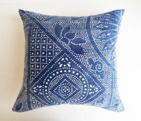 Chinese Batik Pillow Cover Indigo Batik By Habitationboheme