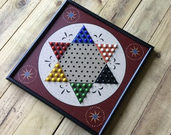 """19"""", Chinese Checkers, Game Board, Wood, Hand Painted, Folk Art, Primitive, Game Boards, Wooden, Marbles, Marble Game, Glass Marbles"""