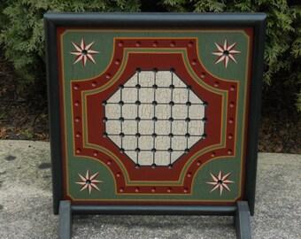"14"" x 14"" Primitive Wood Solitaire Game Board Folk Art Gameboard 14"" x 14"""