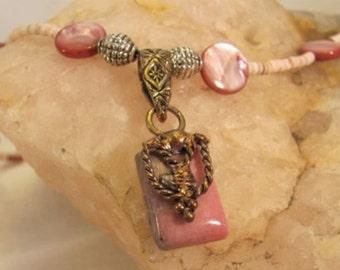 Pink Rhodonite Pendant Necklace