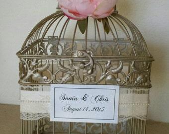 Large Champagne Birdcage w Peony-Wedding Cardholder-Customized