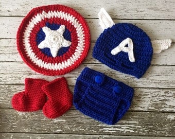 Captain America Inspired Costume/Captain America Hat/Captain America Shield/Baby Photo Prop Newborn to 24 Month Size-MADE TO ORDER