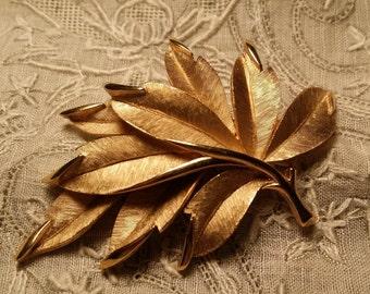 STYLISH Brushed & Polished Goldtone Leafy Pin by Crown Trifari VINTAGE