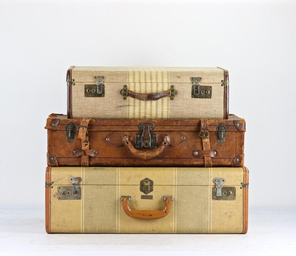 vintage striped suitcase vintage suitcase suitcase by huntandfound. Black Bedroom Furniture Sets. Home Design Ideas
