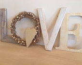Wood Letters, Love Wood Letters, Gold Love, Valentine's Day Decor, Vintage Love Letters, Rustic Holiday Decor