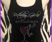 Rhinestone Birthday Girl tank tops Birthday Girls Entourage Tank Top Pink Wine birthday shirt girls night out birthday weekend girls trip
