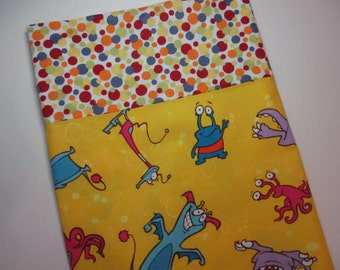 Monsters Standard Pillowcase,  Kid Friendly Boogie Monsters on Yellow, Geeky Alien-like Boys Pillowcase with FABRIC FLAW Gift under 10