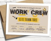 Tool Time Birthday Invitation - Work Crew, Paint and Tools Boy Birthday Invite - Printable or Printed Cards