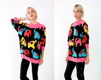 sweater, knit sweater, 80s 90s vintage black colorful Elephant knitted pullover sweater, jumper, womens o s f m