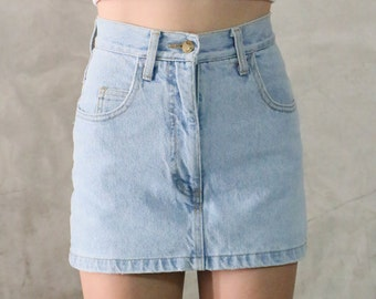 skort, denim skort, jean shorts, 90s vintage light wash minimal high waisted mini skort, shorts-skirt, womens xs 0-1