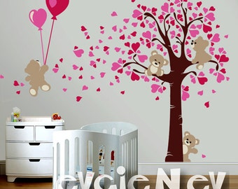 Valentine's Wall Decals - Teddy Bears LOVE Wall Decals - Hearts Baby Nursery - Boys & Girls Room Decals-PLTBRS020