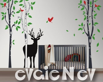 Deer Silhouette with Flying Birds Wall Decal - Nature Scenery Large Birch Trees Decals - Children Animals Wall Stickdrs - TRSD030