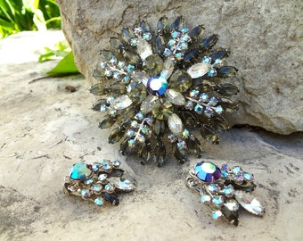 Massive 4 Inch Brooch and Clips / Layers of Vintage Marquise Stones / Wedding Jewelry / Smoke Gray and Peacock Blue Aurora Borealis