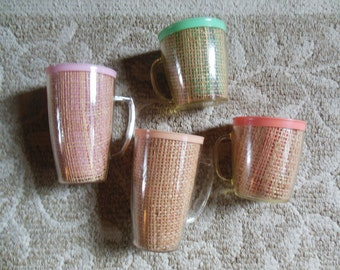 Ratan Thermal Set of 4 Cups, TWO Tall and TWO Low, Retro 1950s Patio, Picnic
