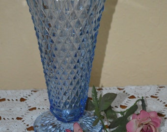 Blue Diamond Point Pattern Vase by Indiana Glass