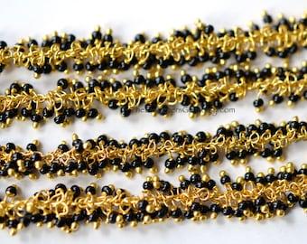 Unique Delicate Gold Vermeil Black Seed Bead Chain - 1 Foot