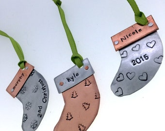 Hand Stamped - Personalized - Riveted Copper Stocking  Ornament - Great  Gift!