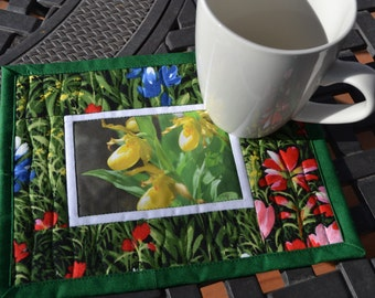 Garden Mug Rug, Quilted Cotton, Yellow Ladys Slipper Photo Fabric Placemat, Mothers Day Gift, Spring