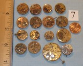 16 RARE Vintage Round Gold-tone WHOLE WATCHES Lot #7 Steampunk Watch Movements Minimal to Moderate Rust