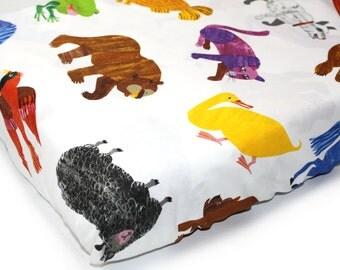 LARGE ANIMALS- crib sheet - Brown Bear book themed gender neutral nursery- Eric Carle crib sheet -woodland nursery bedding