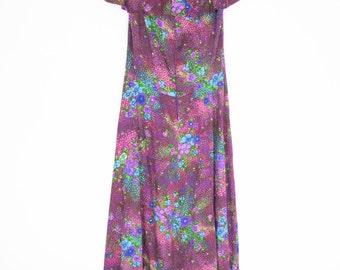 vintage 70s floral long dress