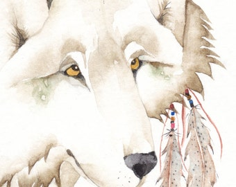 WOLF greeting card watercolor SPIRIT TOTEM animal 'Thunder Moon' Native American
