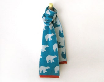 Merino Wool Scarf for kids in blue and light blue with red ribbon · Scarf with Polar bears pattern for boy or girl · Gift for kids