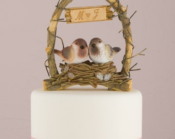 Personalized A Love Nest Wedding Cake Topper Love Birds in Archway Woodland Rustic Decor Romantic