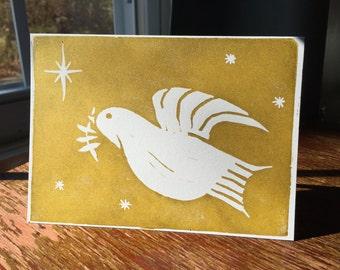 Peace Dove Holiday Card - 1 blank handmade greeting card