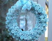 Robin's Egg Blue Pinecone Wreath, Glittered Holiday Wreath, Pearl Spray, Turquoise and White Ribbon