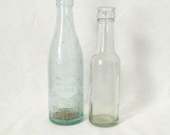 Old bottles- Aqua Spring Water Soda bottle- Antique bottles- Cottage home decor- Old soda bottles