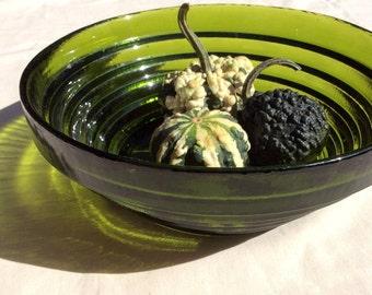 Vintage American Glass Bowl - Mid Century Design - Blenko Glass Comapny-Serving Bowl