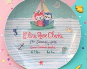 Owl And The Pussycat Personalised Baby Plate